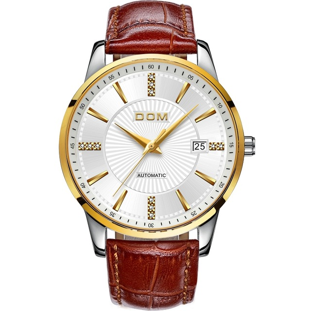 DOM Automatic Watches Mens Self-winding Mechanical Watch Day Date Analog Leather Strap Wrist Watch Fashion Sport BusinessDOM Automatic Watches Mens Self-winding Mechanical Watch Day Date Analog Leather Strap Wrist Watch Fashion Sport Business