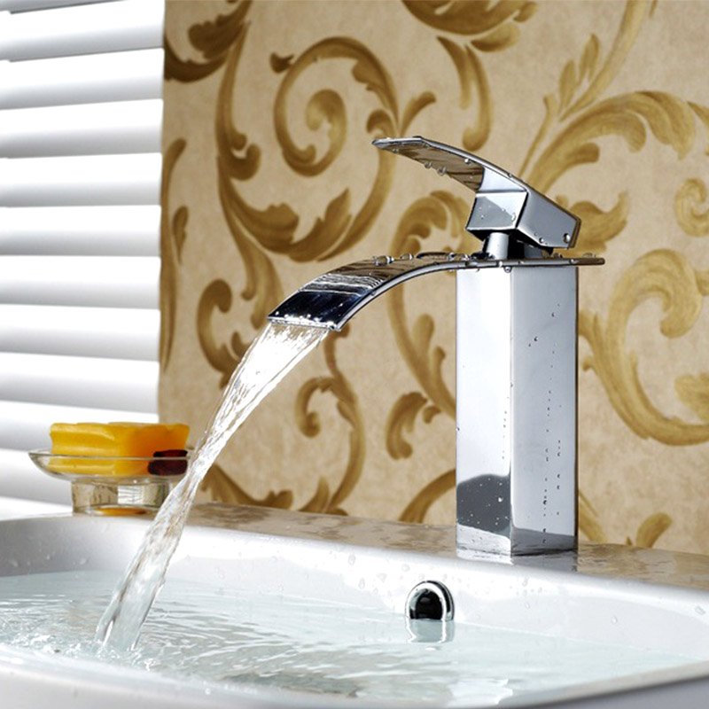 Waterfall Wall Faucet Water Spigot Bathroom Basin Tap Square