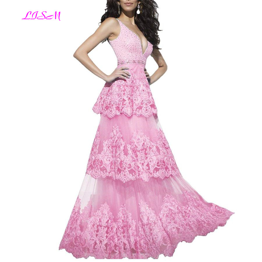Lace Appliques Beaded Layered Prom Dresses Girls A-Line V-Neck Tulle Evening Dress Long Sleeveless Backless Formal Party Gowns
