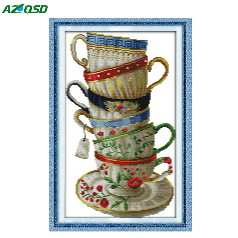 DMC 14CT 11CT Cross Stitch kits <font><b>Elegant</b></font> coffee cup counted print on canvas embroidery needlework Set Crafts <font><b>Home</b></font> <font><b>Decor</b></font> j103