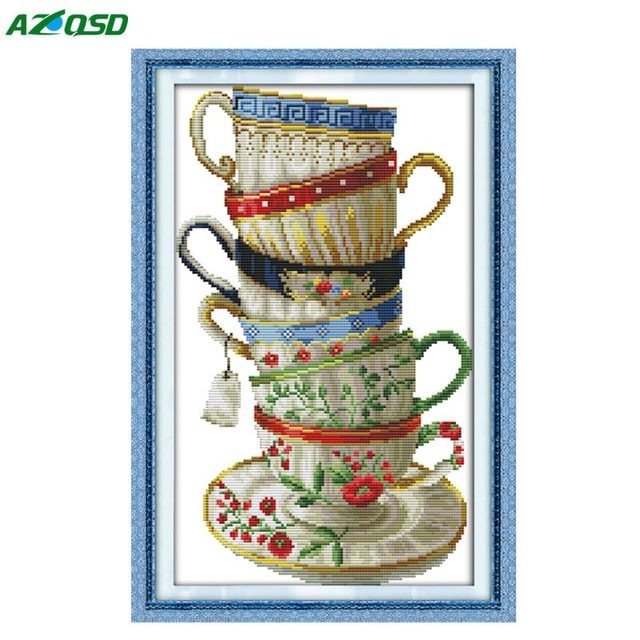 DMC 14CT 11CT Cross Stitch kits Elegant coffee cup counted print on canvas embroidery needlework Set Crafts Home Decor j103