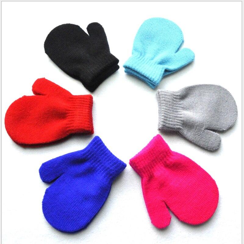 2018 Winter Gloves Baby Comfortable Warm Mitten Baby Knitting Solid Children Gloves Mittens Kids Unisex Baby Glove