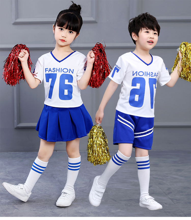 SONGYUEXIA Girls Jazz Dance Professional Costume Performance Stage Long-short Sleeve Summer Kids Boys Top+Skirt Red Blue