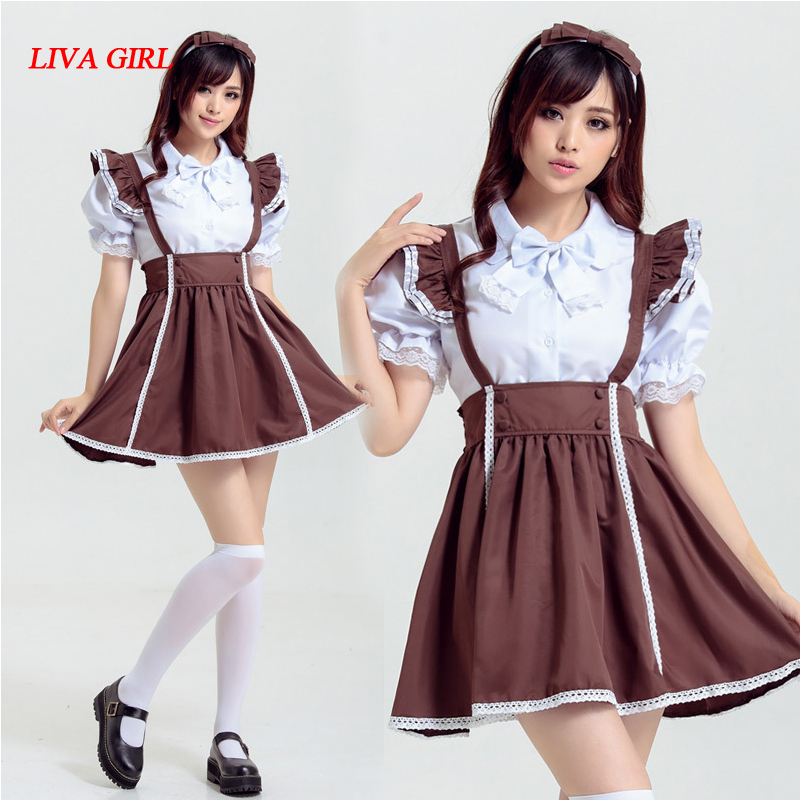 2018 Sexy French Maid Costume Sweet Gothic Dress Anime Cosplay Maid Uniform Plus Size Halloween Costumes For Women