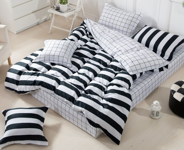 3D Black and white striped comforter set sets queen full size