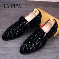 European Style Men S Loafers With Rhinestones Handmade Men S Luxury Casual Party Wedding Shoes Fashion