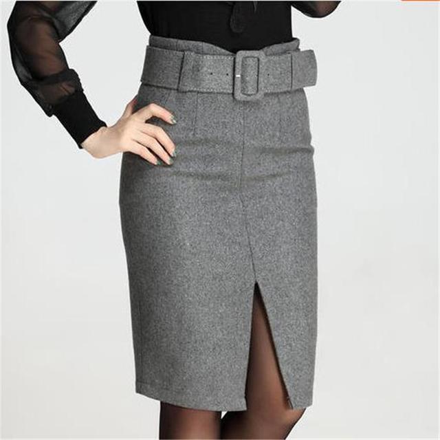 Faldas de invierno 2016 Nuevas Mujeres de Espesor Dividido Faldas Lápiz de La Vendimia Cintura alta Paquete Hip Falda de Midi Con Cinturón de 3 Colores WSKTK609002