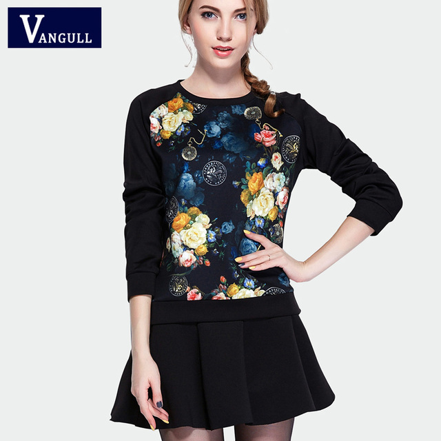 Women Two Piece Set 2016 New Arrivals Autumn Winter Print Dress Ladies Fashion Long Sleeve Casual 2 Piece Set Outfits Dress
