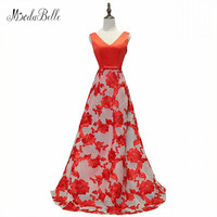 Modabelle Red Floral Evening Gown Abendkleider 2017 Lace Up Cheap Short Burgundy Prom Dresses Robe Longue