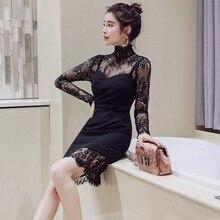 Women Summer Lace Dress Turtleneck Elegant Evening Party Vintage Mini Dresses Long Sleeve Black Vestidos