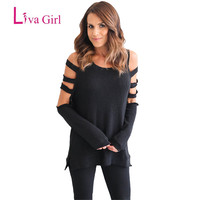 2017 Black Grey T Shirt Women Long Sleeve Hollow Out Cold Shoulder Tops Loose Tees Sexy