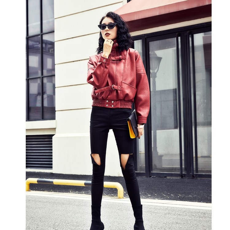 2018 Autumn Women Loose Faux Soft Short Jackets New Fashion Streetwear Long Sleeve Multicolor PU   Leather   Coat