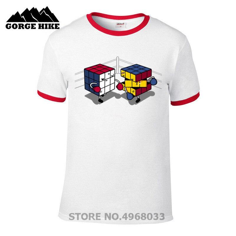 Funny anime Cube fighter T-shirt rubiks cube fighter rubiks boxing nerd, geek T shirt homme Rubik's Cube T-shirt men Novelty 3XL