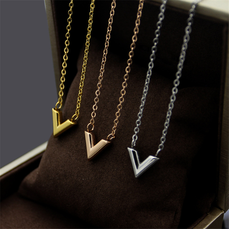 Titanium Stainless Steel 18K Yellow/Rose Gold/Silver Platinum Plated V Pendant Necklaces Women Luxury Short Chain Choker Jewelry image