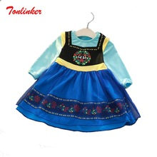 Autumn New Ice and snow Queen Anna Elsa Fairy Tale Princess Girl  Dress Cosplay Carnival Halloween Costume Skirts