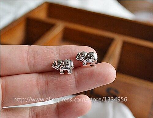 10 unids/lote Formado Elefante Al Por Mayor Tibetana Metal plateado plata granos
