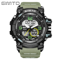 GIMTO Brand Military Digital Sport Watch Men Clock Diving LED Watches Army Male Dual Time Waterproof