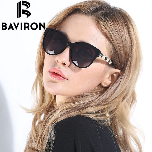 f92c4668e6 BAVIRON Shield Cat Eye Sunglasses Women Polarized HD Lens Glasses Hot Sale  Frame Inset Pearl Feminino