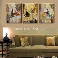 ממוסגר 100% ציור שמן רקדנית בלט בעבודת יד על הקיר 3 Piece אמנות ריקוד מופשט ציור קיר תמונת סצנה עבור חדר