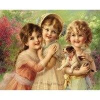 Top Grade 100 Precise Printed Cross Stitch Kit Three Little Angel Girl Stitch European Styles Embroidery