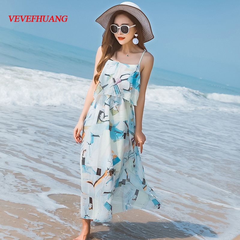 2018 Summer Bohemianach Women Long dress Spaghetti Strap Chiffon High Waist Big Pendulum Holiday Sea Dresses Light Blue L0777