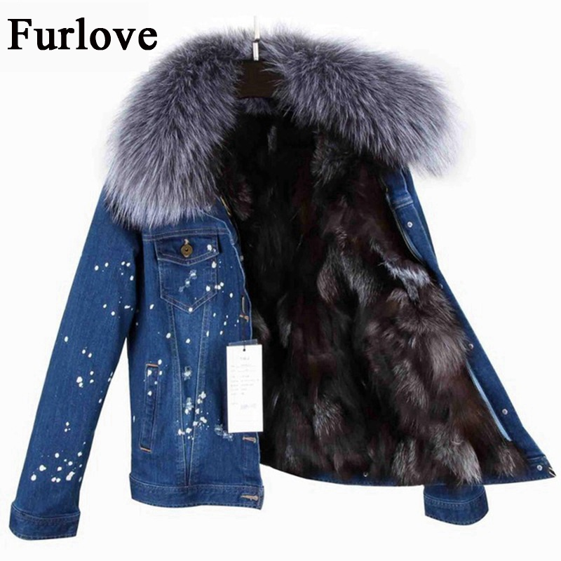 Jeans Jacket Women Fashion Denim Jackets Short Real Raccoon Fur collar Parka True Fox Fur Lining Winter Coat Thick female parkas 2017 winter new clothes to overcome the coat of women in the long reed rabbit hair fur fur coat fox raccoon fur collar