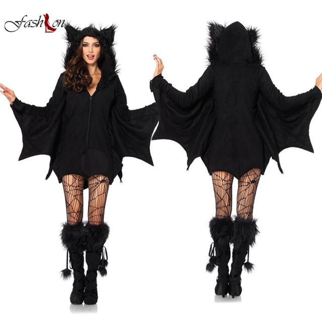 Nuevas mujeres animación ropa cosplay negro evil vampire bat devil costume dress bola decoración caliente de la venta ropa de escena