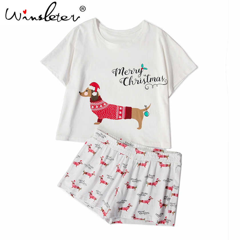 c18a0d5596dd ... Christmas Pajama Sets Women Dachshund With Santa Hat Dog Print 2 Pieces  Set Crop Top + ...