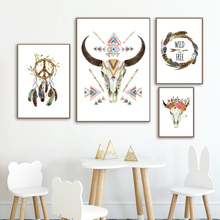 Antelope Head Feather Peony Indian Style Nordic Posters And Prints Wall Art Canvas Painting Pictures For Living Room Decor