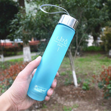 New Portable Bike Sports & Outdoors Fruit Lemon Juice Bottle Unbreakable 280ml Plastic Scrub Water Bottle 6 colors