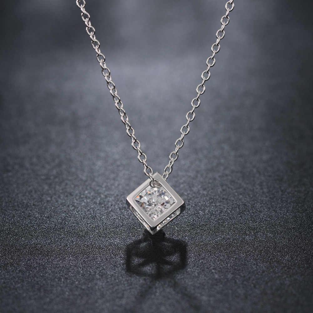 Proste eleganckie kobiety kwadratowe 925 srebro naszyjniki nowy długi cyrkonia wisiorek delikatna biżuteria dla kobiet