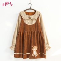 Japanese Mori Girl Kawaii Dress Women Cute Fashion Embroidery Bear Ruffle Corduroy Dresses Girls Fake Two Piece Dress