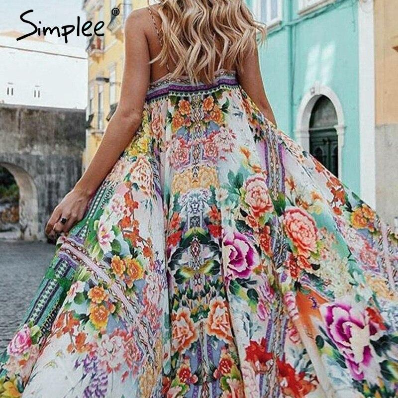 Simplee Boho Цветочные женские летние 2019 длинное платье Сексуальные Спагетти ремень спинки платья повседневные пляжные плюс размер платье vestidos
