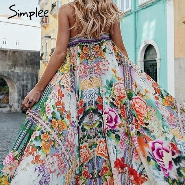 599a946cd0baf Simplee Boho floral women summer 2019 long dress Sexy spaghetti strap  backless dresses Casual beach plus size dress vestidos