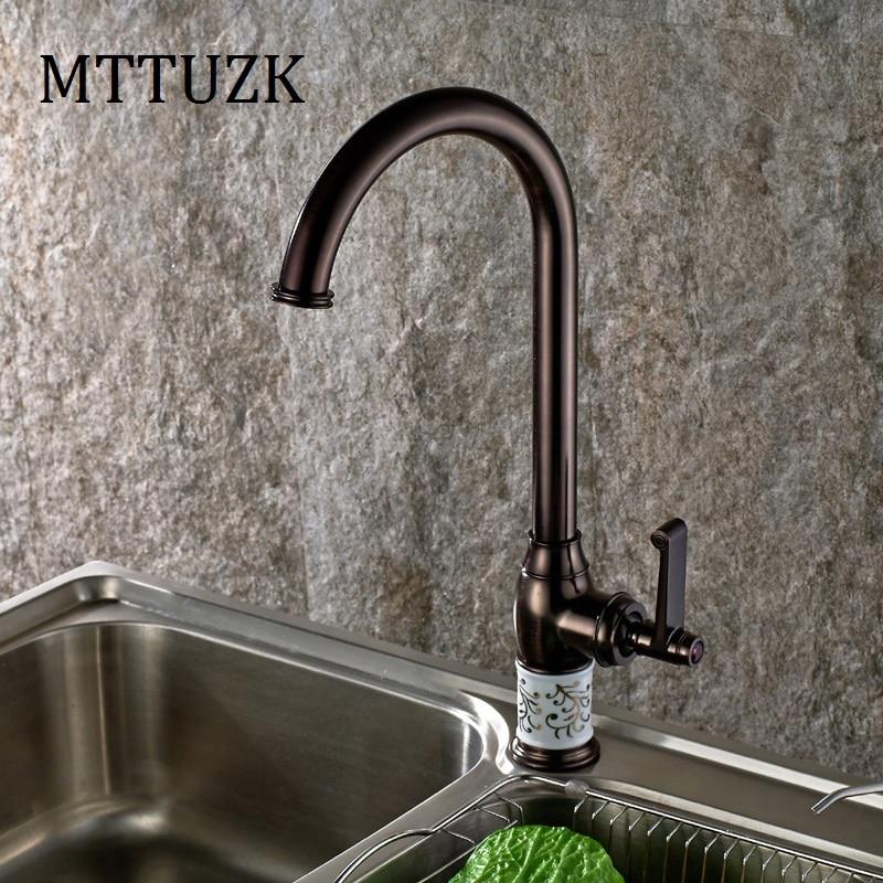 MTTUZK livraison gratuite robinet de cuisine frotté à l'huile cuivre pour eau froide et chaude robinet évier robinet lavabo végétal 360 rotation
