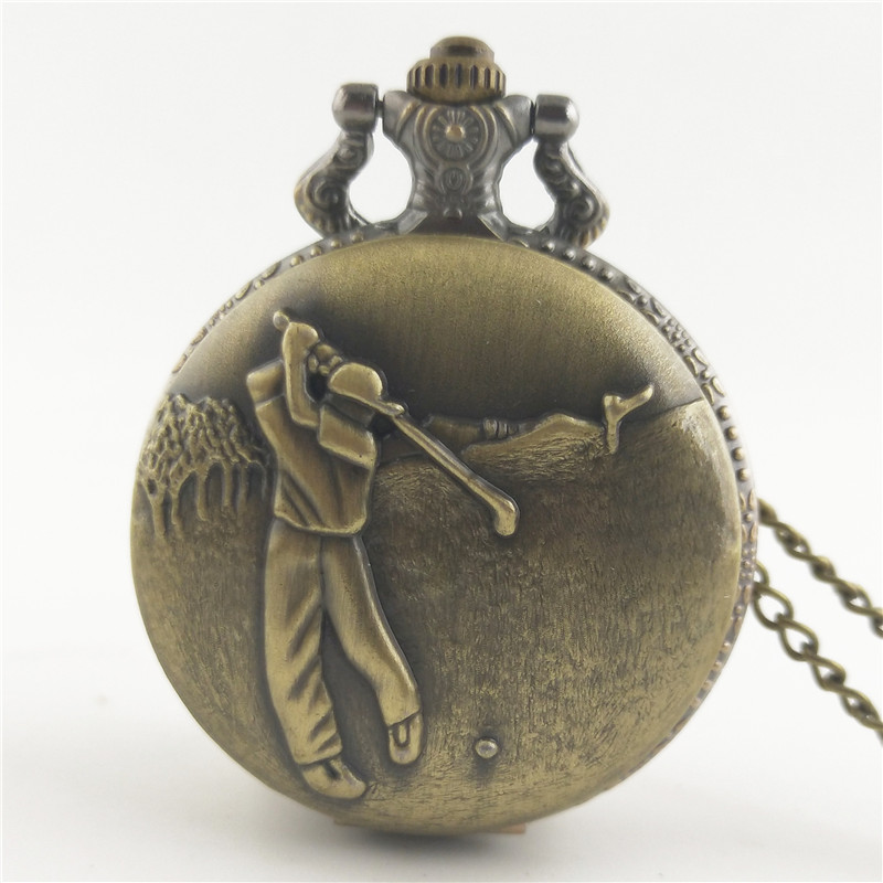 Antique brass pocket watch, steampunk antique design, elegant design quartz chain golf pocket watch, male and female gifts.