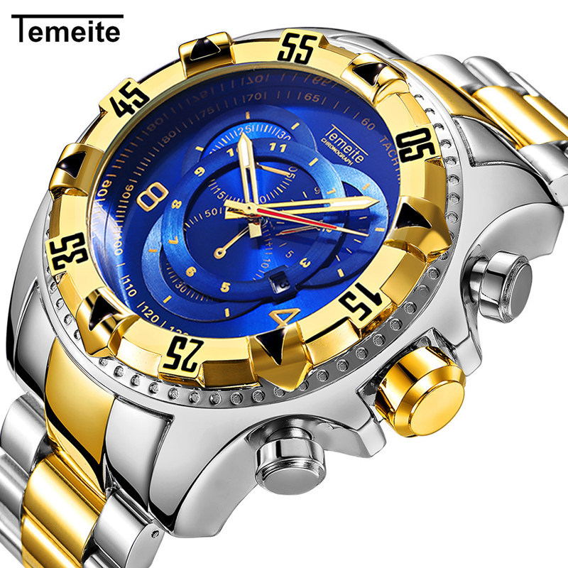 TEMEITE 2018 New Quartz Watches Mens Fashion Creative Heavy Big Dial Wristwatch Luxury Gold Blue Full Steel Relogio Masculino