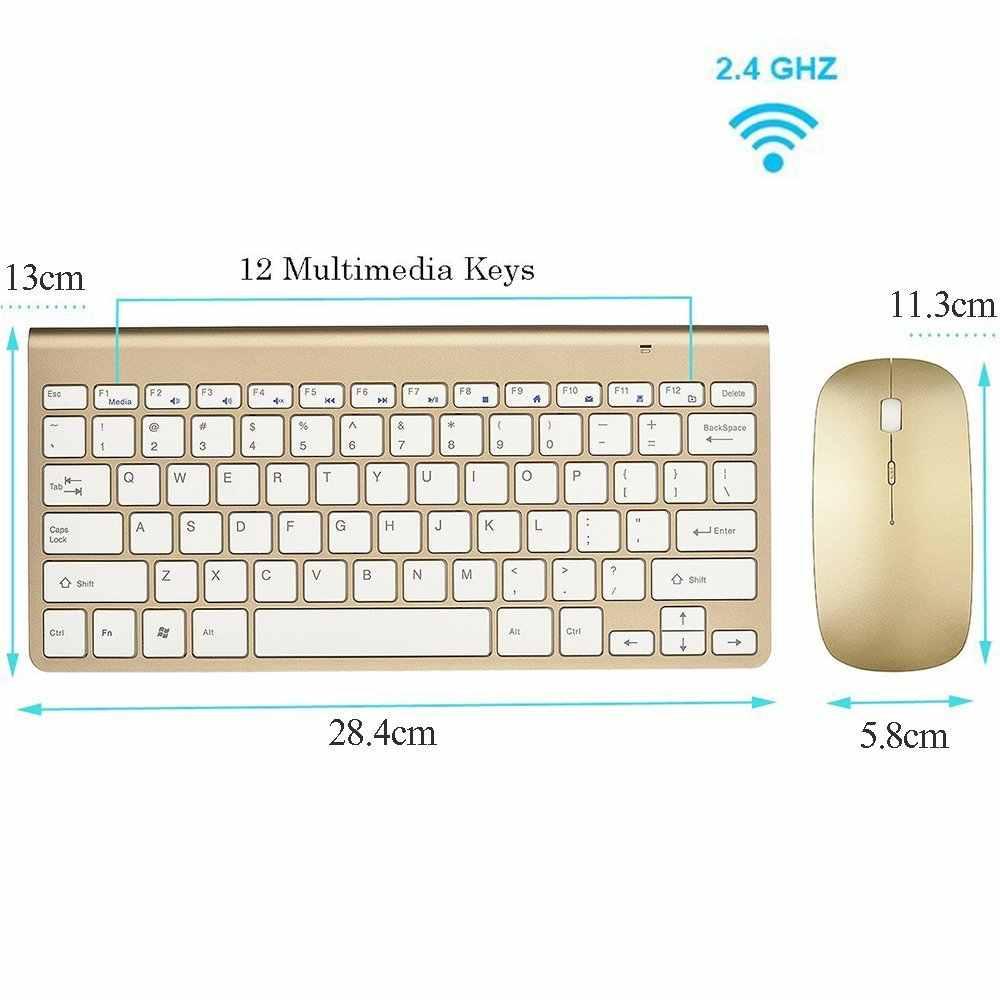 Zienstar russie anglais 2.4G sans fil clavier souris Combo avec récepteur USB pour Macbook, ordinateur, ordinateur portable, TV BOX et Smart TV
