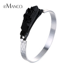 eManco Black&White Round Vintage Bangles Gifts for Women Metal Alloy Black Resin Bangle&Bracelets Hand jewelry(China)