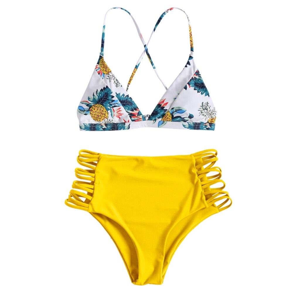 bda7343a1914f Detail Feedback Questions about Women Pineapple Print Strappy High Rise Bikini  Set Cut Out Push Up Swimwear High Waist Bathing Suit Bandage Swimsuit ...