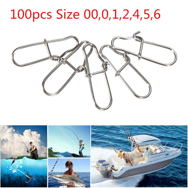 100pcs/lot Stainless Steel Pin Shap Hook Lock Solid Rings Safety Snap Swivel Solid Rings Safety Snaps Fishing Hooks Connector