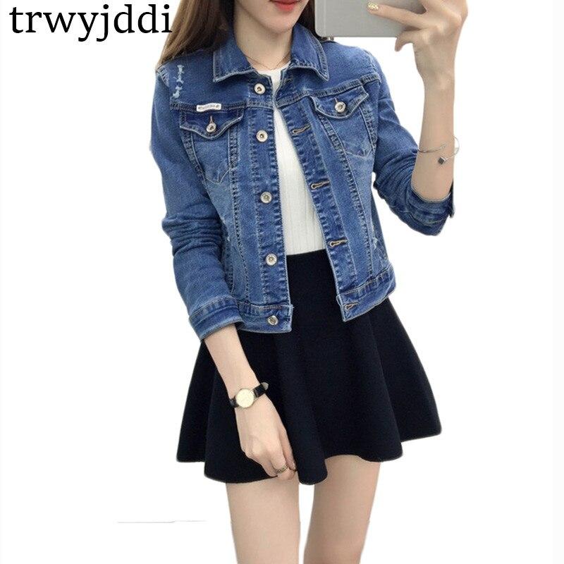 Spring Slim Turn- down Collar Casual Coats Women 2018 Jacket Coat Long Sleeve Short Jacket Denim Top Cowboy Bomber Jackets hl284