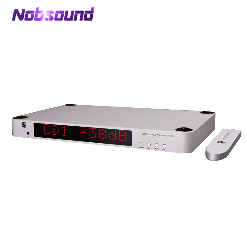 Nobsound High End Ref Pre-Amplifier Stereo HiFi Transistor Preamp With 3 Input Remote Control and LCD Display For Home Audio hi endcs3310 remote preamplifier stereo preamp with vfd display 4 way input