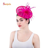 Fuchsia Linen Hats for Women Featehrs Elegant Bridal Hats Wedding Hair Accessories with Hairpins pamelas sombreros bodas H63