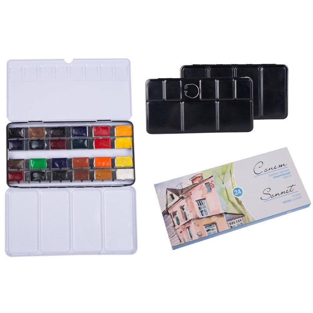 Conjunto de pintura de acuarela de calidad MEEDEN-soneto de noche blanco de 24 colores de dibujo escolar para suministros de pintura de dibujo de artista
