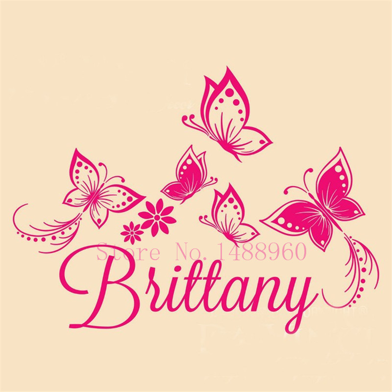 A1 Name Personalized Butterflies Wall Sticker For Kids Room Decor Removable Vinyl Wall Decals