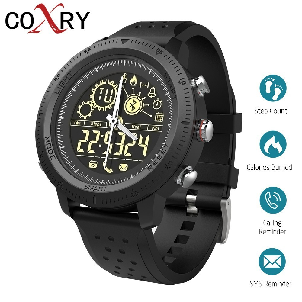 все цены на COXRY Outdoor Sport Watch Men Smartwatch Dual Display Analog Digital Watch Smart Pedometer Stopwatch Electronic Wrist Watches