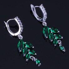 Amazing Plant Green Cubic Zirconia White CZ 925 Sterling Silver Drop Dangle Earrings For Women V0749