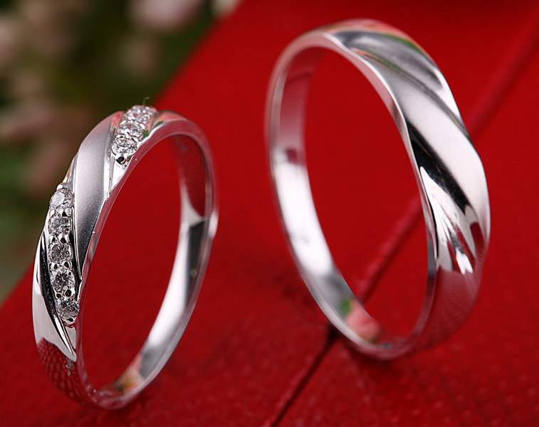 Handmade Diamond Ring Set For Bride And Groom Wedding Band Jewelry 18k White Gold Engraving In Rings From Accessories On
