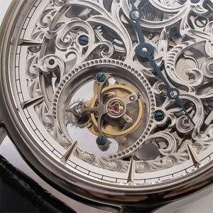 Image 2 - Voller Skelett Mechanische Uhren Männer der ST8000K Tourbillon bewegung Männer Armbanduhr Krokodil Lederband saphir Uhr